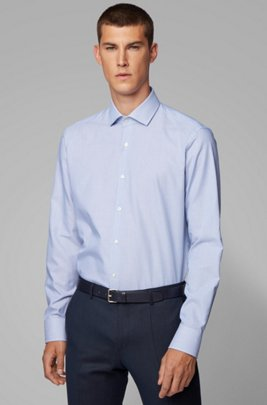 Regular-fit shirt in structured Italian cotton, Blue