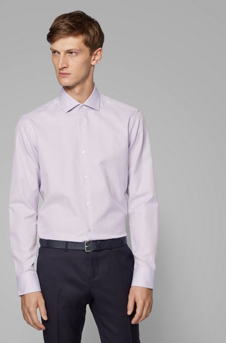 Regular-fit shirt in structured Italian cotton, Purple