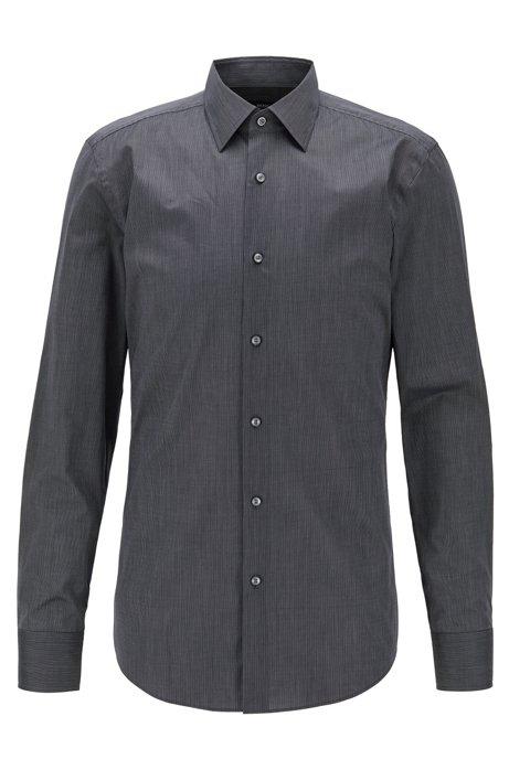Slim-fit shirt in pinstripe Italian cotton, Black
