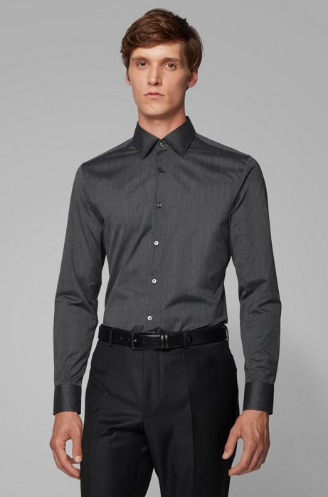 Slim-fit shirt in pinstripe Italian cotton, Black