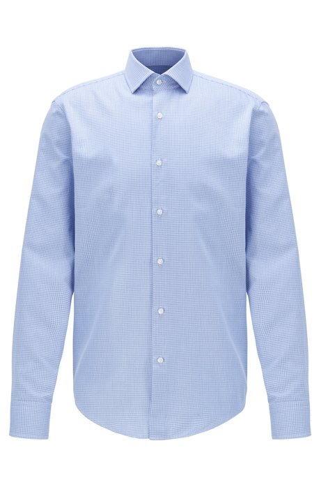 Regular-fit shirt in cotton with two-tone micro squares, Light Blue