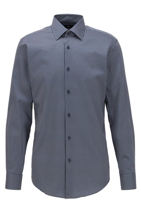 Slim-fit shirt in micro-print cotton satin, Dark Blue