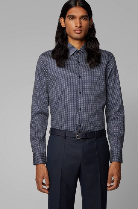 Slim-fit shirt in micro-print cotton satin, Dark Blue