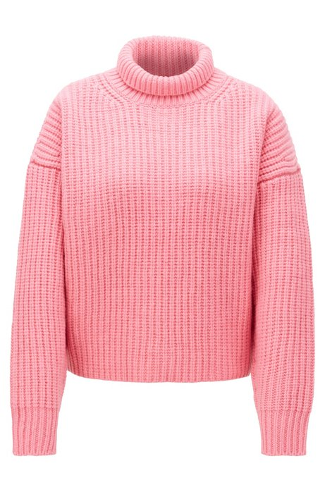 High-neck sweater in virgin wool with cashmere, light pink