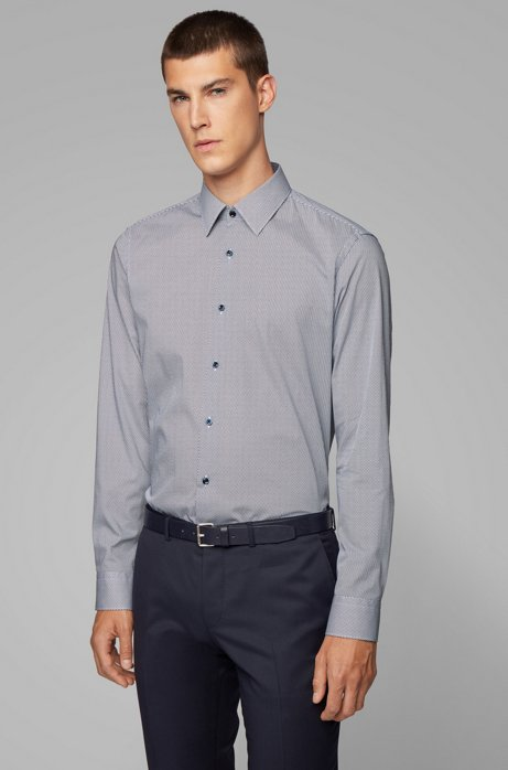 Regular-fit shirt in printed Italian cotton, Dark Blue