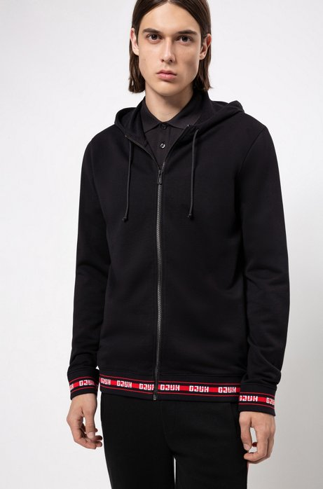 Zip-through hoodie in French terry with logo trims, Black