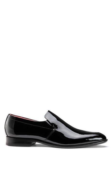 Patent-leather loafers with full-leather sole, Black