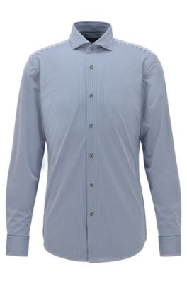 Slim-fit striped shirt in performance-stretch fabric, Dark Blue