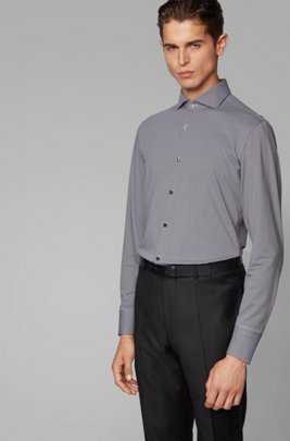 Slim-fit checked shirt in performance-stretch fabric, Black