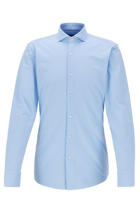 Slim-fit checked shirt in performance-stretch fabric, Light Blue