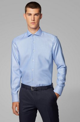 Slim-fit shirt in structured Fresh Active cotton, Light Blue