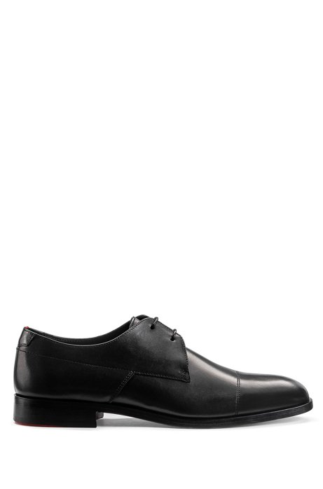 Leather Derby shoes with red-accented sole, Black