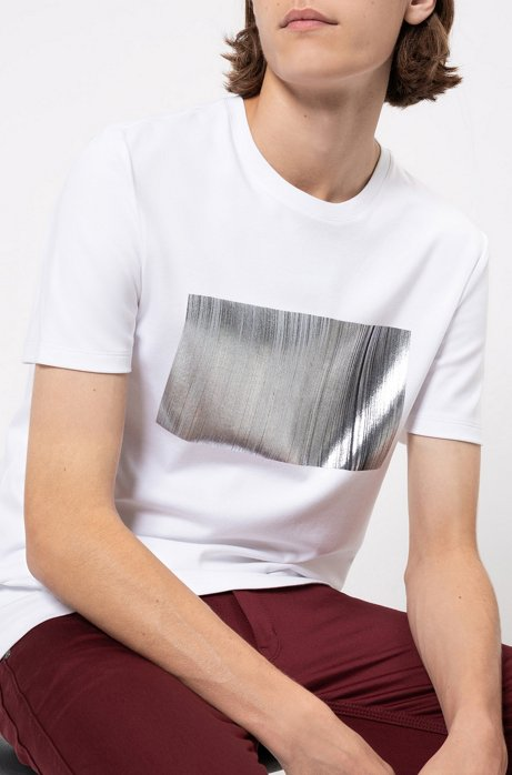Regular-fit T-shirt in pure cotton with graphic print, White