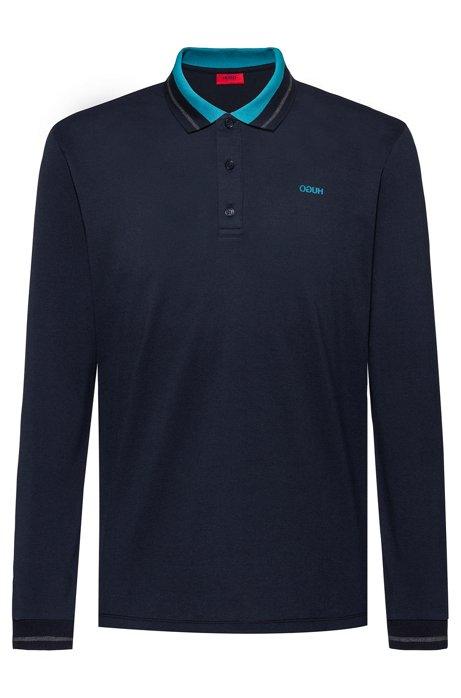 Regular-fit polo shirt in cotton piqué, Dark Blue