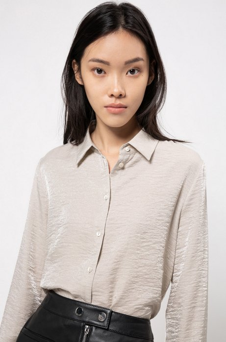Regular-fit blouse in shimmering textured fabric, Patterned