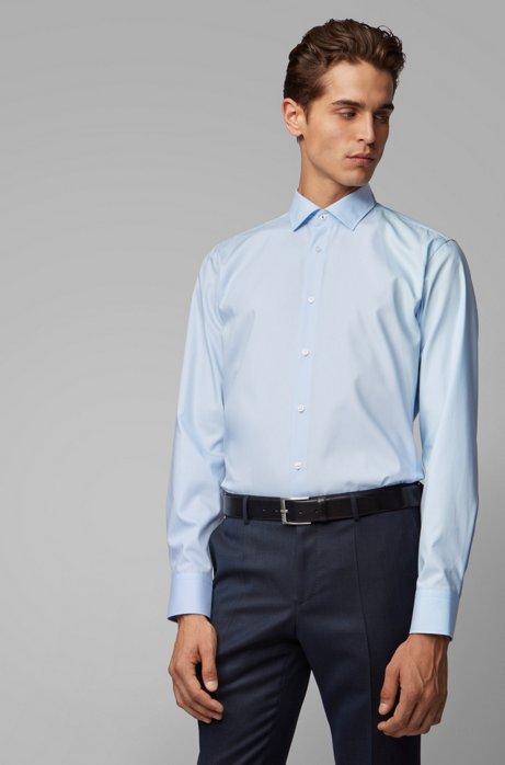 Regular-fit shirt in easy-iron Austrian cotton, Light Blue