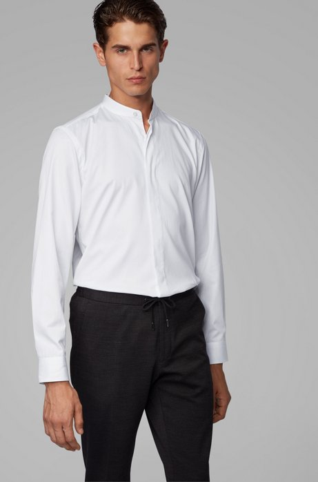 Slim-fit evening shirt in cotton satin with convertible cuffs, White