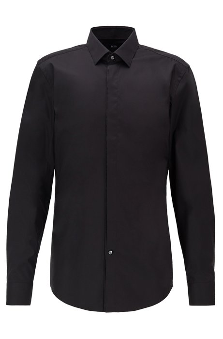 Slim-fit shirt in easy-iron Austrian cotton, Black