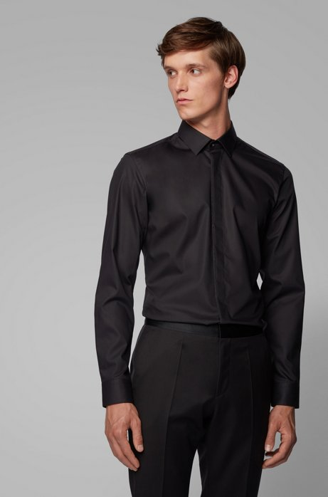 Slim-fit shirt in easy-iron cotton, Black