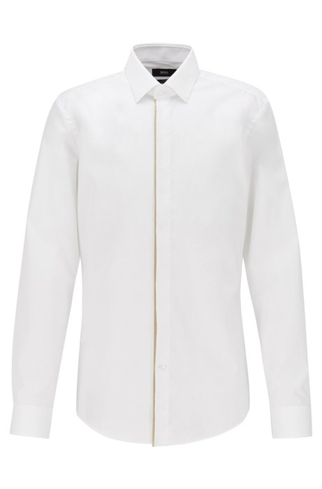 Slim-fit shirt in easy-iron cotton, Open White