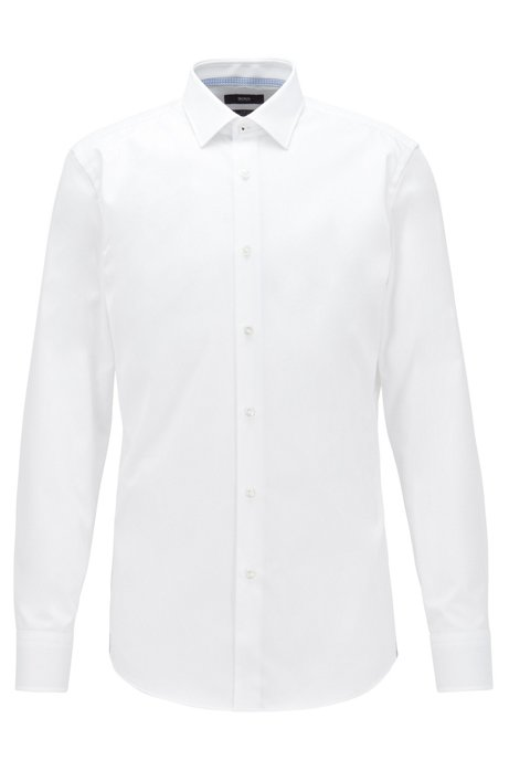 Slim-fit shirt in Austrian easy-iron cotton, White