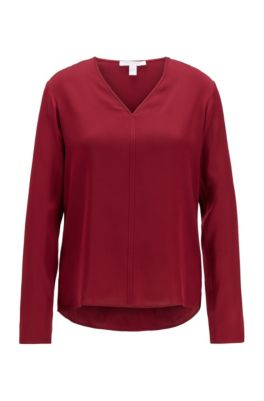 Long-sleeved top in stretch silk with V neckline, Red