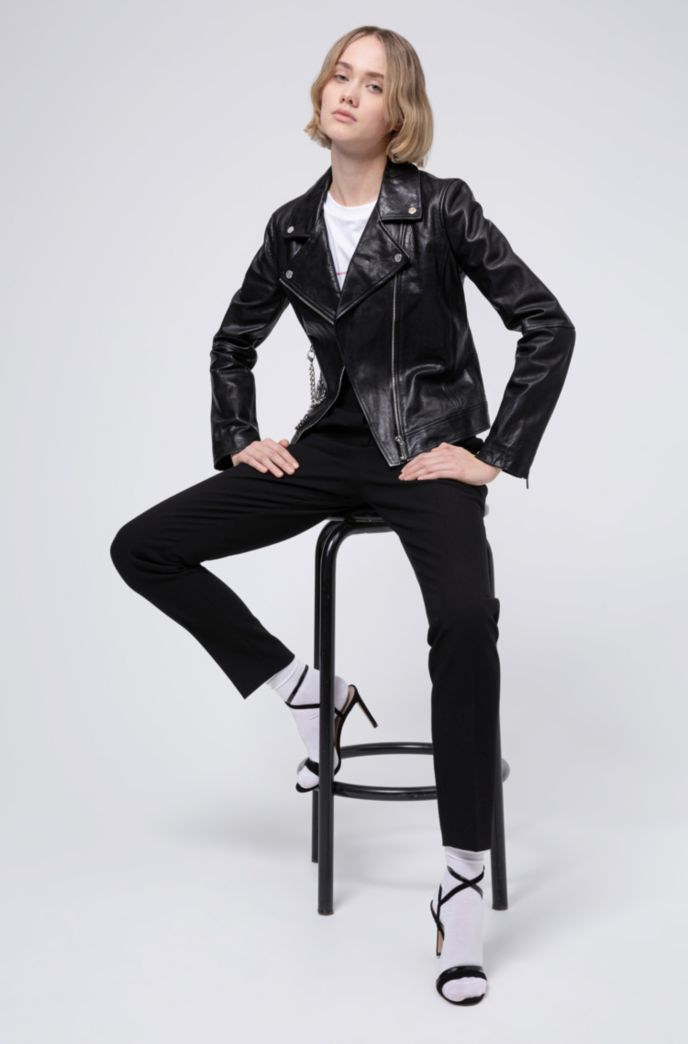 Regular-fit leather biker jacket with chain embellishments