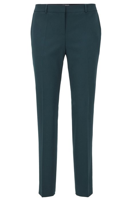 Regular-fit pants in virgin-wool twill with stretch, Dark Green