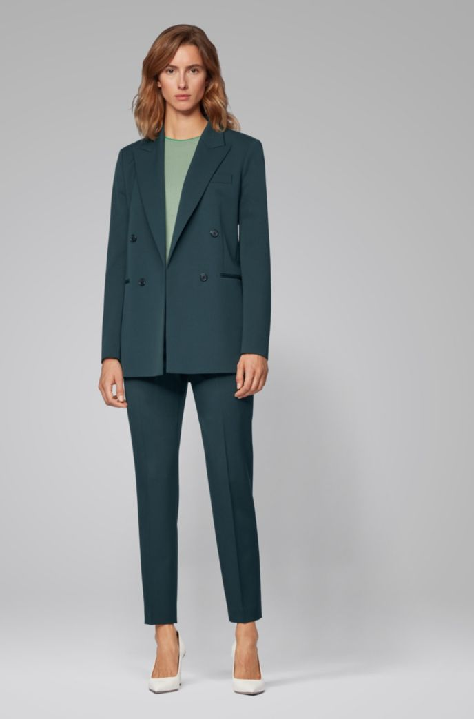 Regular-fit pants in virgin-wool twill with stretch