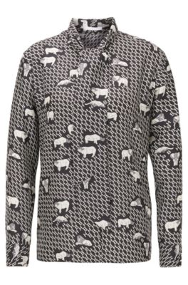 Animal-print tie-neck blouse in silk twill, Patterned