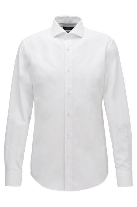 Slim-fit shirt in a structured cotton blend, White