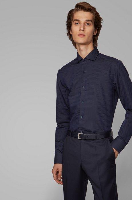 Slim-fit shirt in a structured cotton blend, Dark Blue