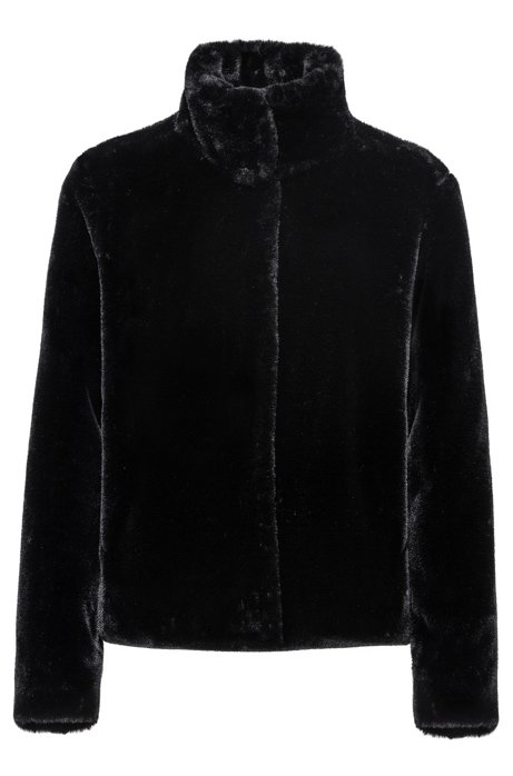 Faux-fur jacket with concealed closure, Black