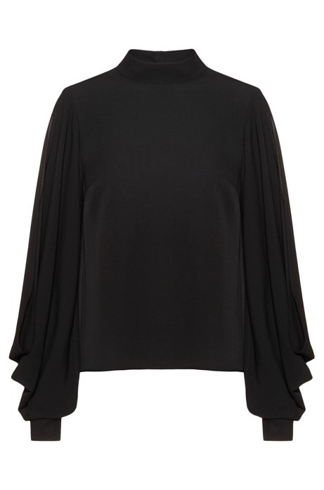 Regular-fit blouse with cold-shoulder cuts, Black