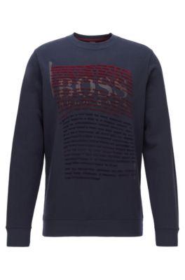 Relaxed-fit sweatshirt with gradient flock-print logo artwork, Dark Blue