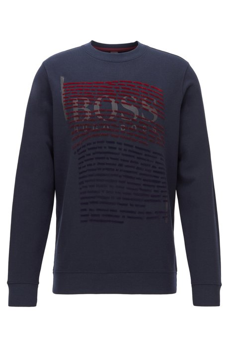 Relaxed-fit sweatshirt with gradient flock-print logo artwork, Dark Blue