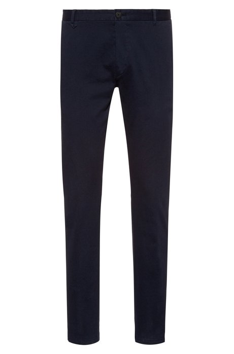 Extra-slim-fit pants in overdyed stretch cotton, Dark Blue