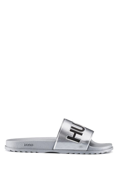 Italian-made metallic sliders with contrast logo, Silver