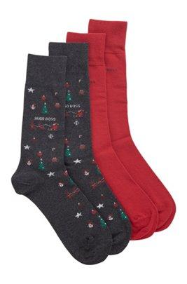 Two-pack of festive regular-length cotton-blend socks, Dark Grey