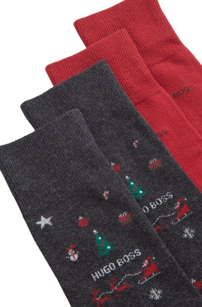 Two-pack of festive regular-length cotton-blend socks
