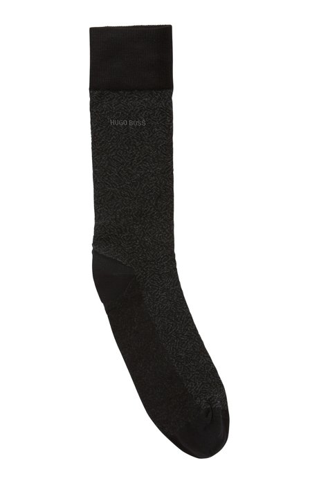 Micro-patterned socks in mercerized stretch cotton, Black
