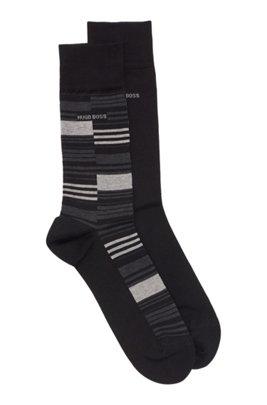 Two-pack of regular-length mercerized cotton-blend socks, Black