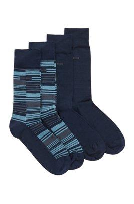 Two-pack of regular-length mercerized cotton-blend socks, Dark Blue