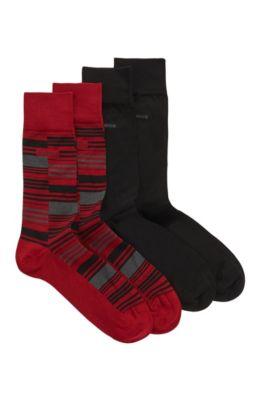 Two-pack of regular-length mercerized cotton-blend socks, Red