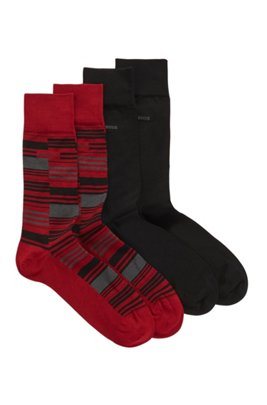 Two-pack of regular-length mercerized cotton-blend socks, Red