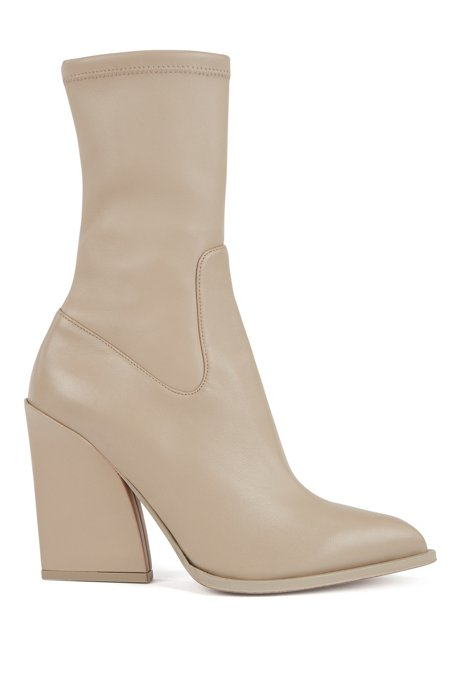 Calf-length boots in Italian leather with feature heel, Beige