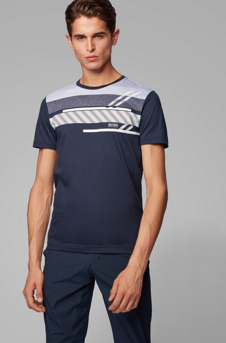 Slim-fit T-shirt with micro-patterned engineered stripes, Dark Blue