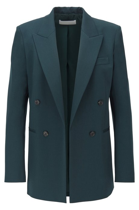 Double-breasted regular-fit jacket in stretch virgin wool, Dark Green