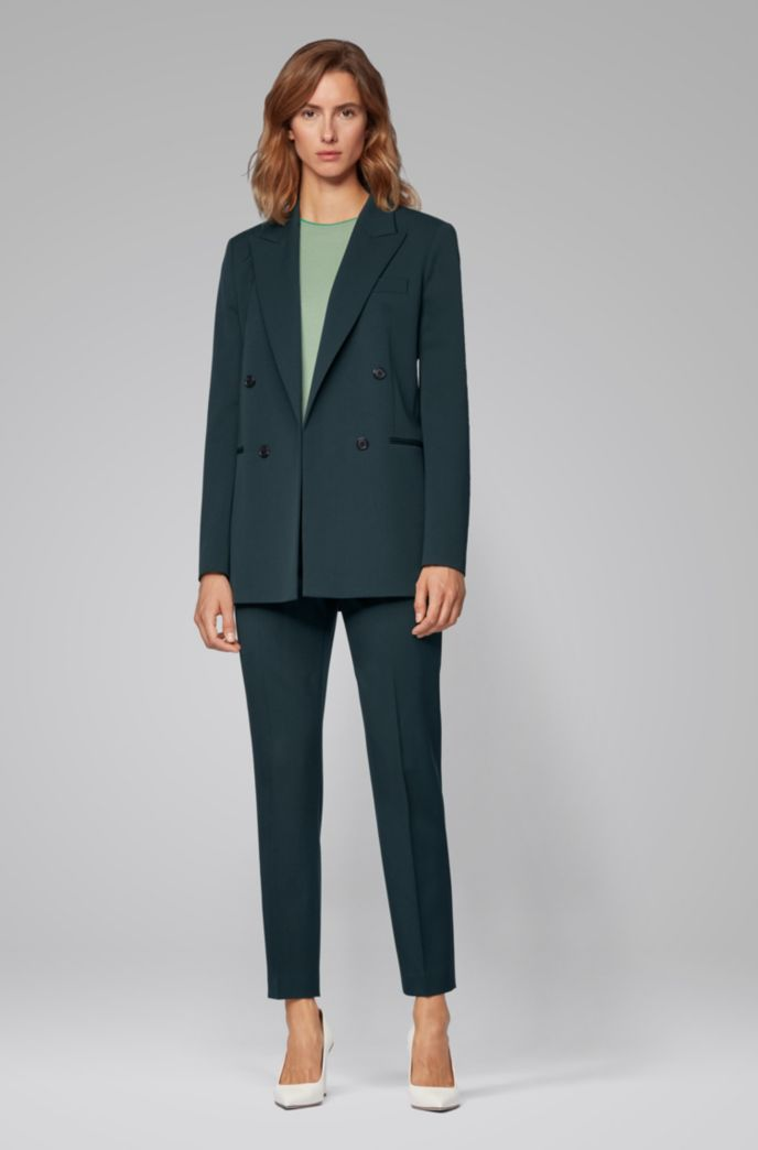 Double-breasted regular-fit jacket in stretch virgin wool