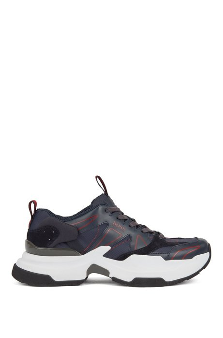 Chunky sneakers with leather and webbing details, Dark Blue